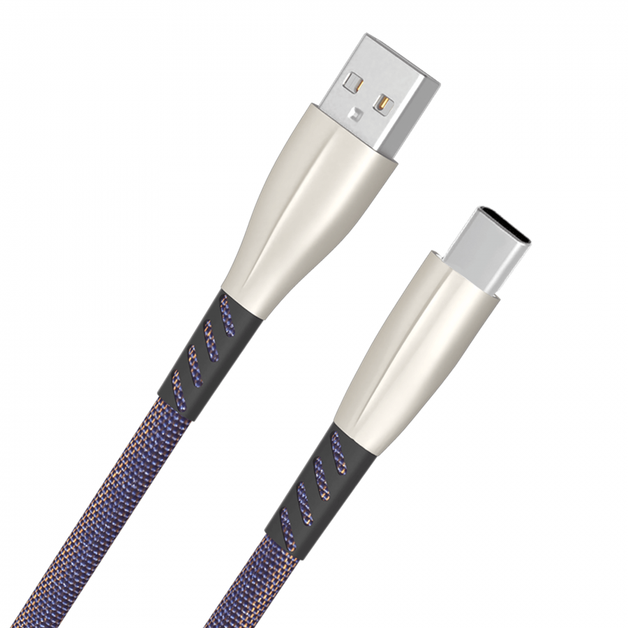 FLORID Cotton Braided Type C USB Data Cable 1 Meter (Blue)
